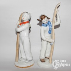 "Скульптуры парные ""Лыжник и лыжница"""